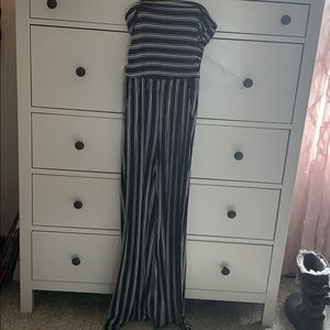 black and white striped strapless jumpsuit
